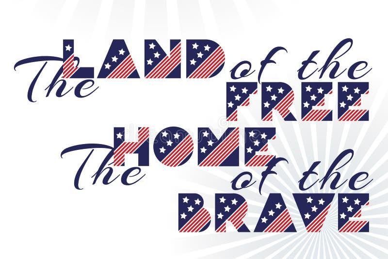 Cópia do vetor do slogan para celebração projeto o 4 de julho no estilo do vintage no fundo branco com texto a terra do livre a c ilustração royalty free