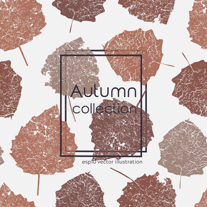 Cópia envelhecida sem emenda das folhas de outono Ilustração colorida do vetor no fundo claro Teste padr?o floral original ilustração do vetor