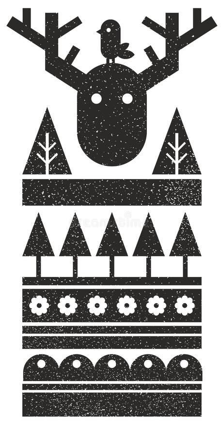 Cópia escandinava preto e branco com pássaro e os alces selvagens ilustração do vetor