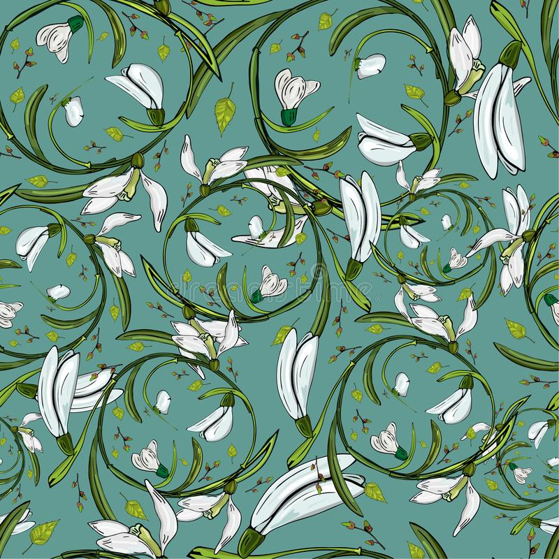 Cópia floral dos snowdrops do teste padrão do vetor ilustração do vetor