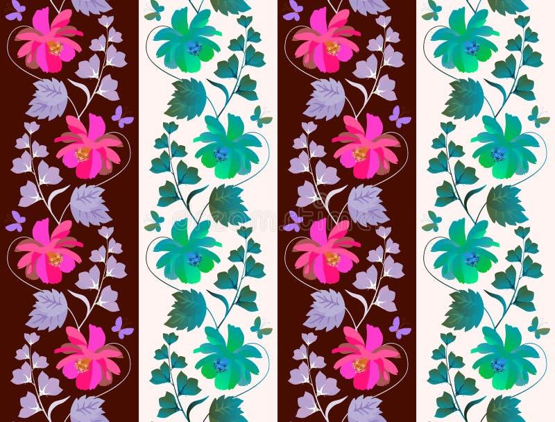 Cópia floral sem emenda bonito para a tapeçaria ou o papel de parede com as festões verticais de flores do cosmos e de sino e de  ilustração royalty free