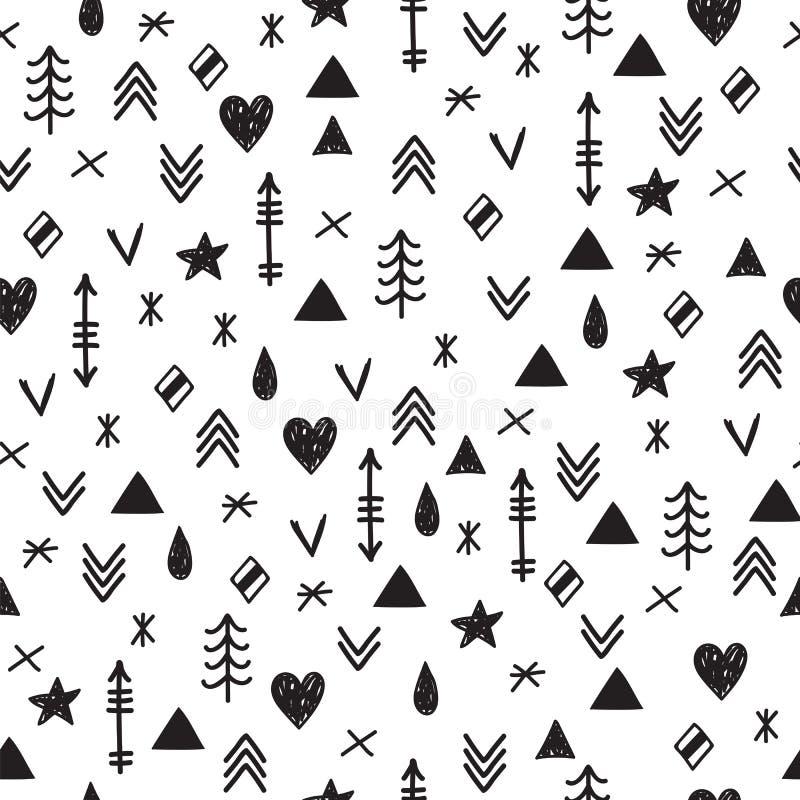 Cópia geométrica abstrata asteca da arte Mão tribal elementos tirados o ilustração royalty free