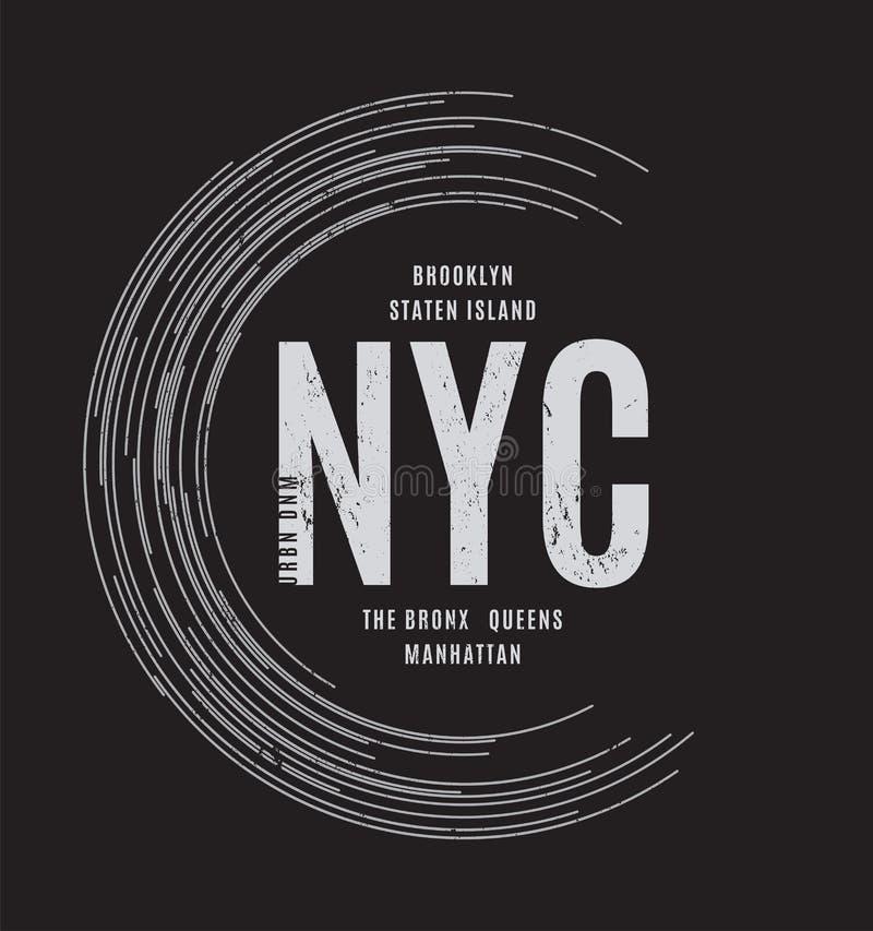 Cópia geométrica abstrata do T de New York com os nomes das cidades ilustração stock