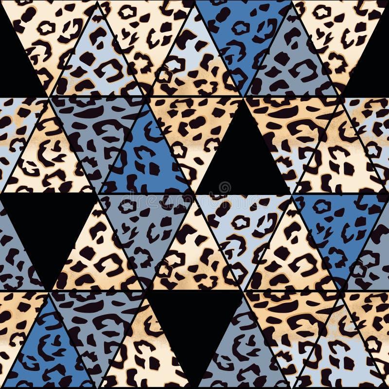 Cópia geométrica abstrata sem emenda Pele do leopardo patchwork ilustração do vetor