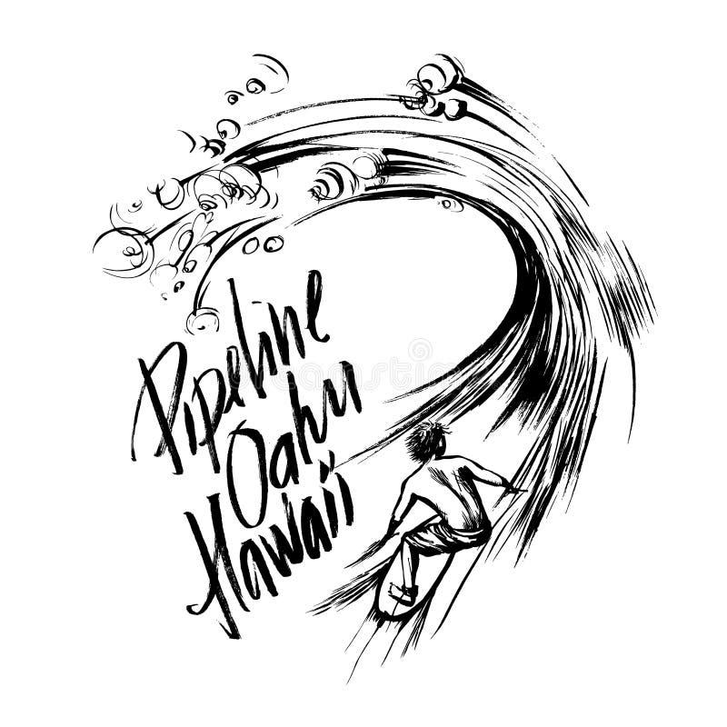 Cópia handdrawn da serigrafia do esboço da tinta da escova da rotulação de Oahu Havaí do encanamento ilustração do vetor
