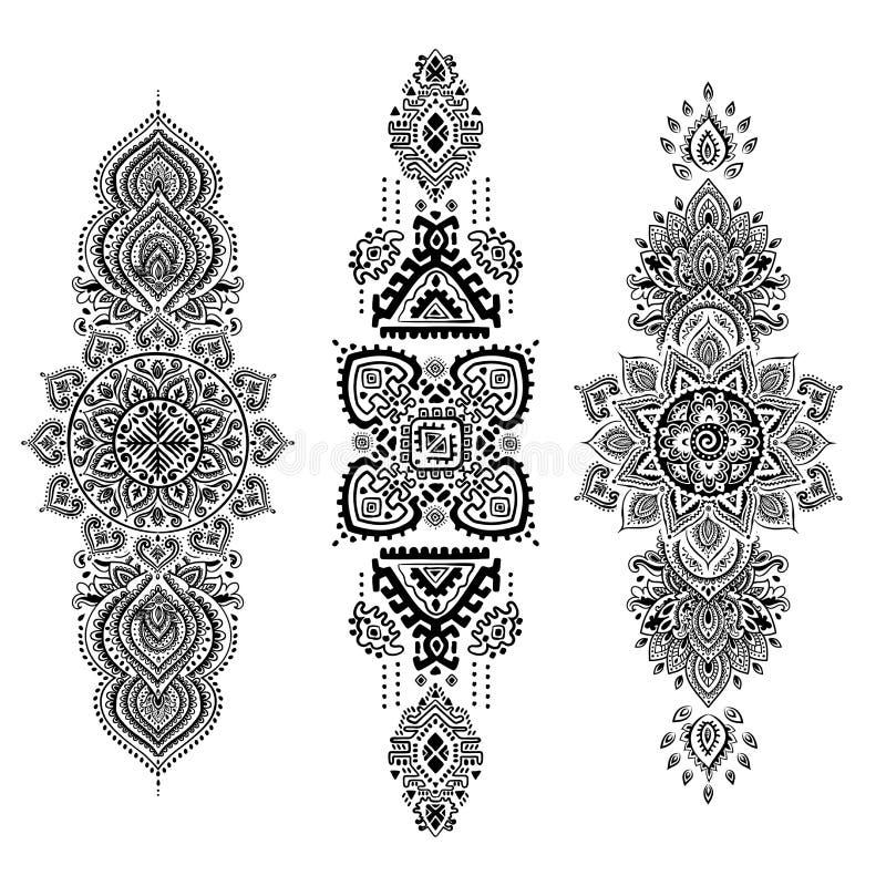 Cópia indiana boêmia da mandala Estilo da tatuagem da hena do vintage ilustração do vetor
