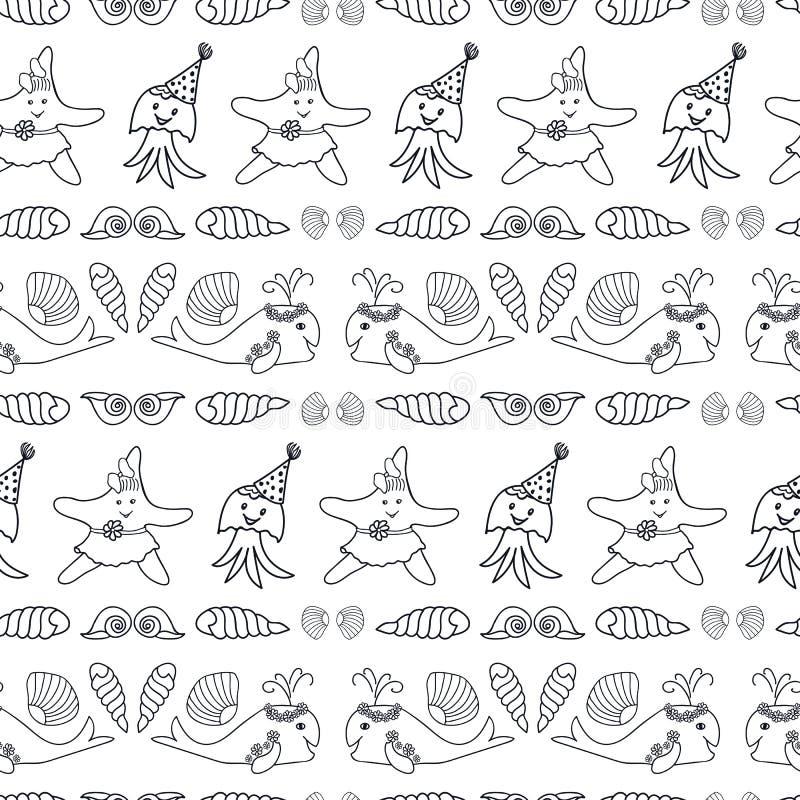 Cópia náutica preto e branco bonito da repetição do vetor ilustração stock