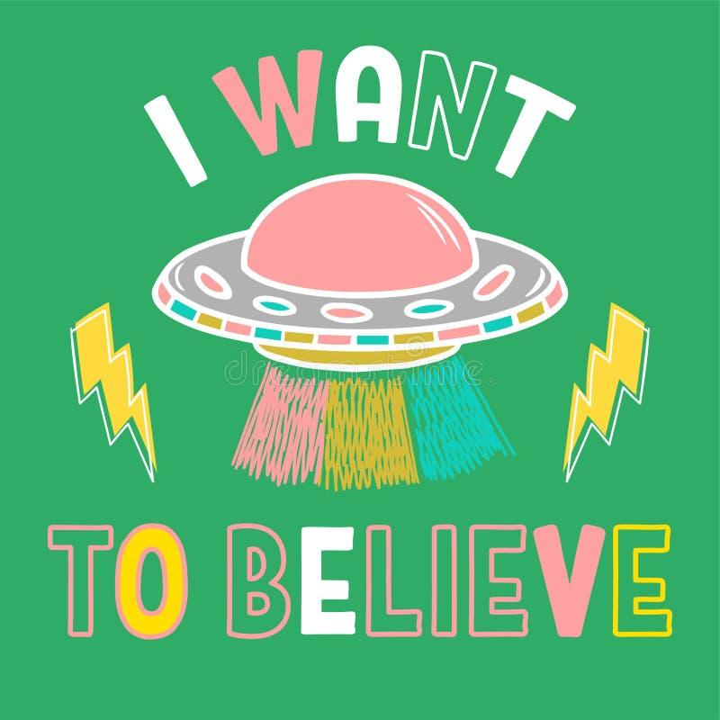 Cópia na moda com UFO e frase ilustração stock