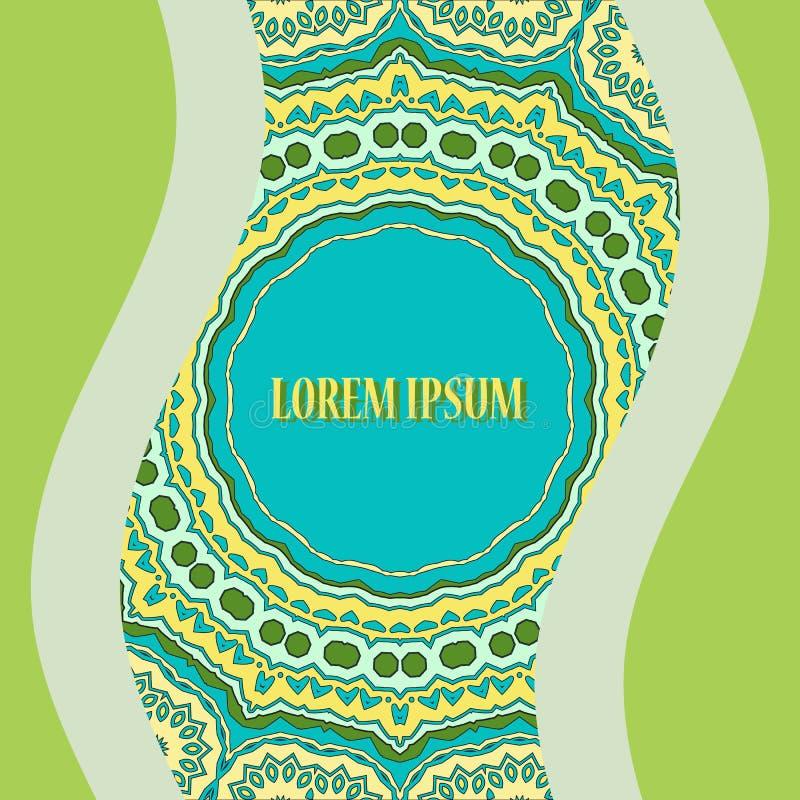 Cópia oriental estilizado do cartão Ornamental redondo ilustração royalty free