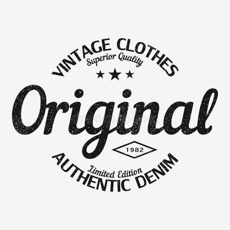 Cópia original do t-shirt Projeto da roupa do vintage com grunge ilustração royalty free
