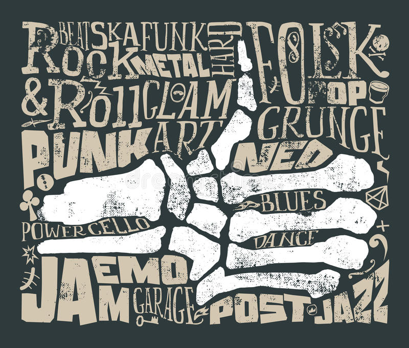Cópia para o t-shirt Música rock grunge Ilustração do vetor ilustração do vetor