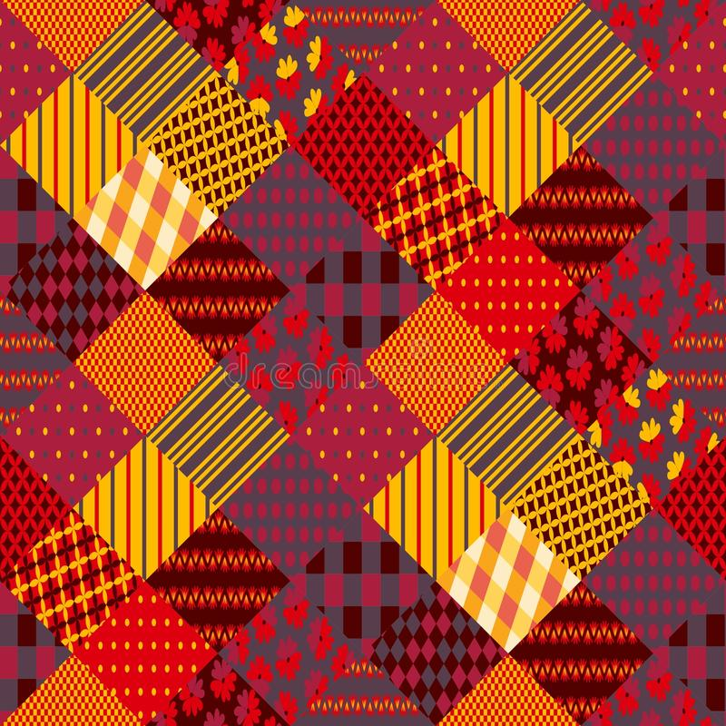 Cópia para a tela Retalhos em cores mornas do outono Teste padrão sem emenda do boho étnico ilustração do vetor