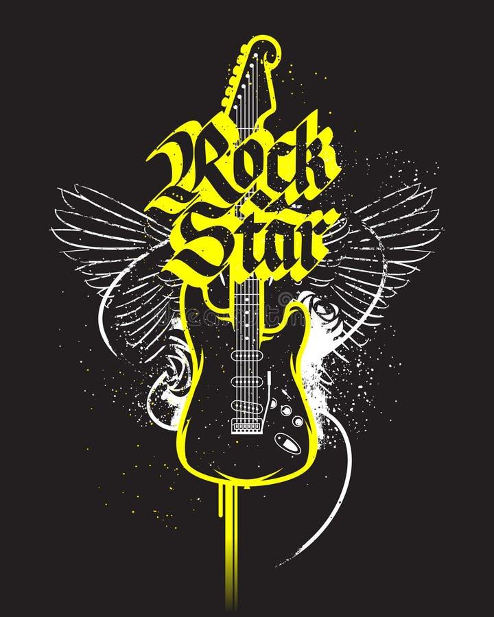 Cópia preta da guitarra ilustração stock