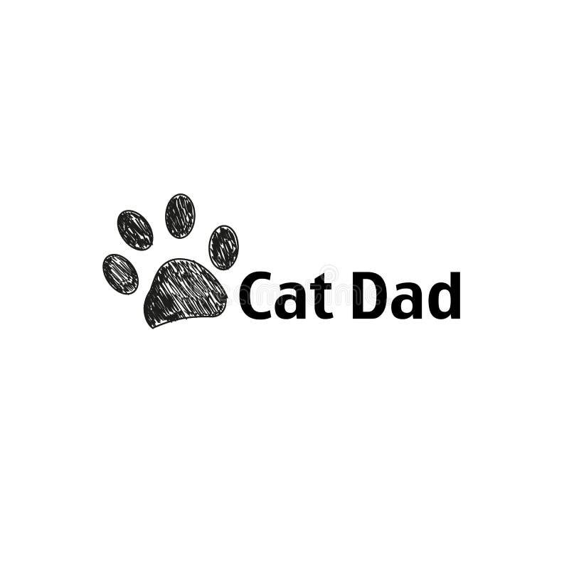 Cópia preta da pata da garatuja Cartão feliz do dia do ` s do pai de Cat Dad ilustração do vetor