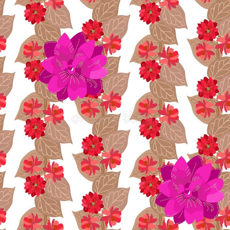 Cópia romântica com festões florais e a grande flor da clematite roxa no fundo branco Ornamento natural sem emenda no vetor ilustração royalty free