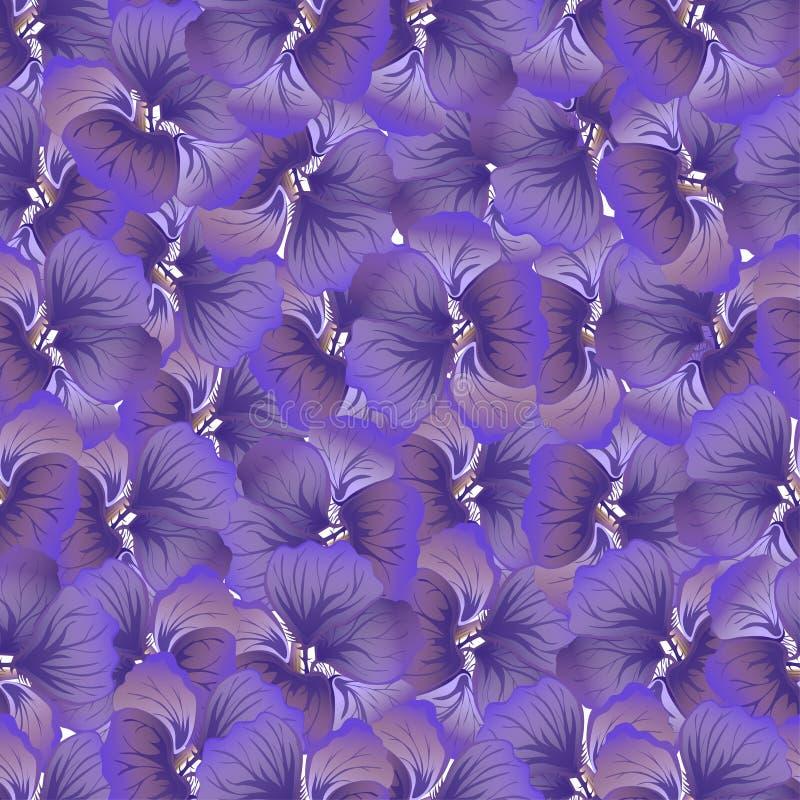 Cópia roxa da flor Teste padrão floral do vintage Fundo sem emenda na moda Textura da forma Papel de parede monocromático Vetor ilustração royalty free