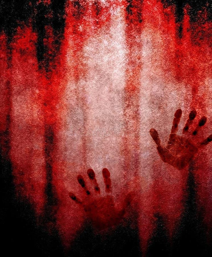 Cópia sangrenta da mão na parede ilustração stock