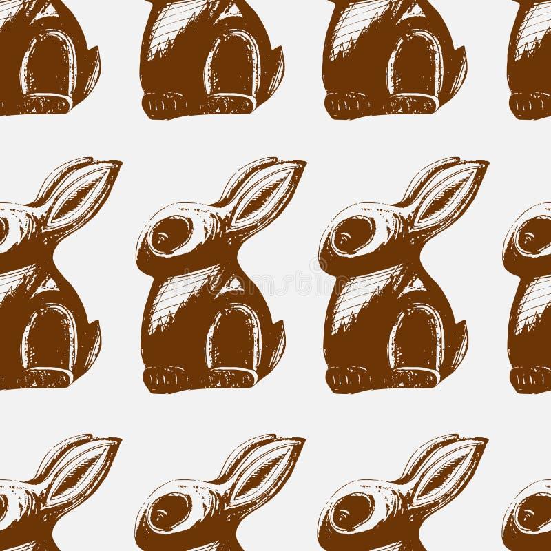 Cópia sem emenda da lebre do chocolate ilustração do vetor
