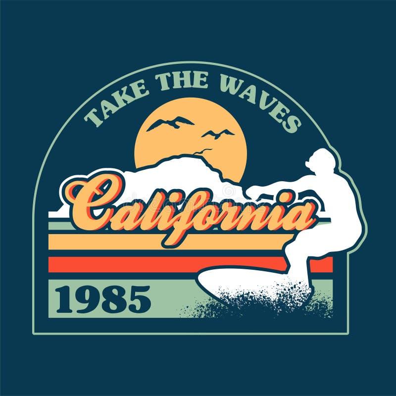 Cópia surfando de Califórnia ilustração stock