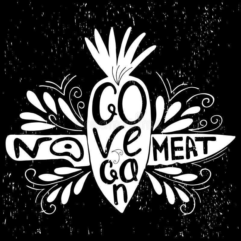 Cópia tipográfica Vai o vegan ilustração do vetor