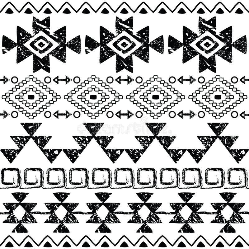 Cópia tirada do Navajo mão sem emenda, teste padrão asteca retro, projeto tribal com riscos ilustração do vetor