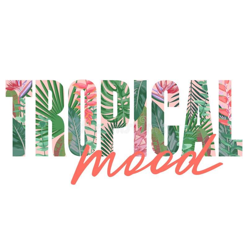 Cópia tropical do t-shirt do humor com plantas exóticas ilustração do vetor