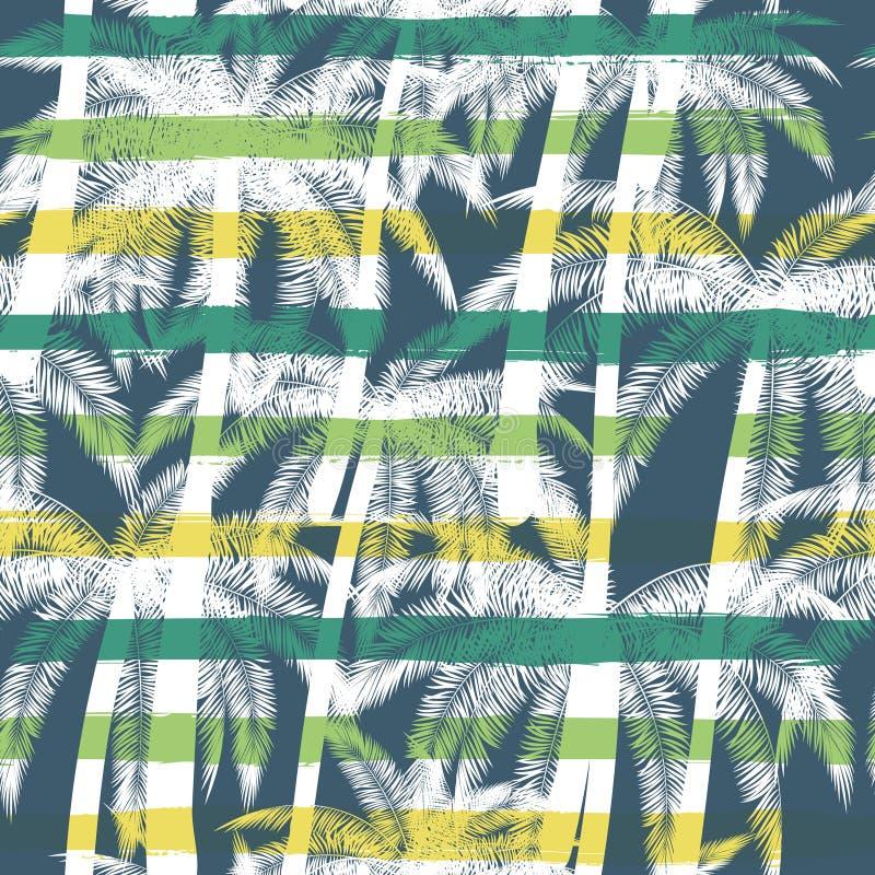 Cópia tropical do verão com a palma com fundo das listras Vector o teste padrão sem emenda ilustração stock