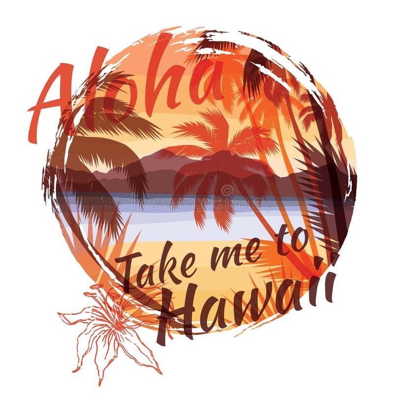 Cópia tropical do verão com slogan para o gráfico e o outro do t-shirt ilustração do vetor
