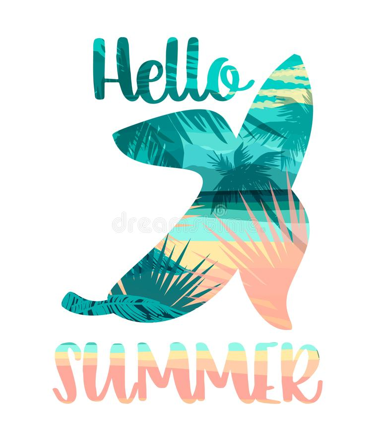 Cópia tropical do verão da praia com slogan para t-shirt, ilustração do vetor