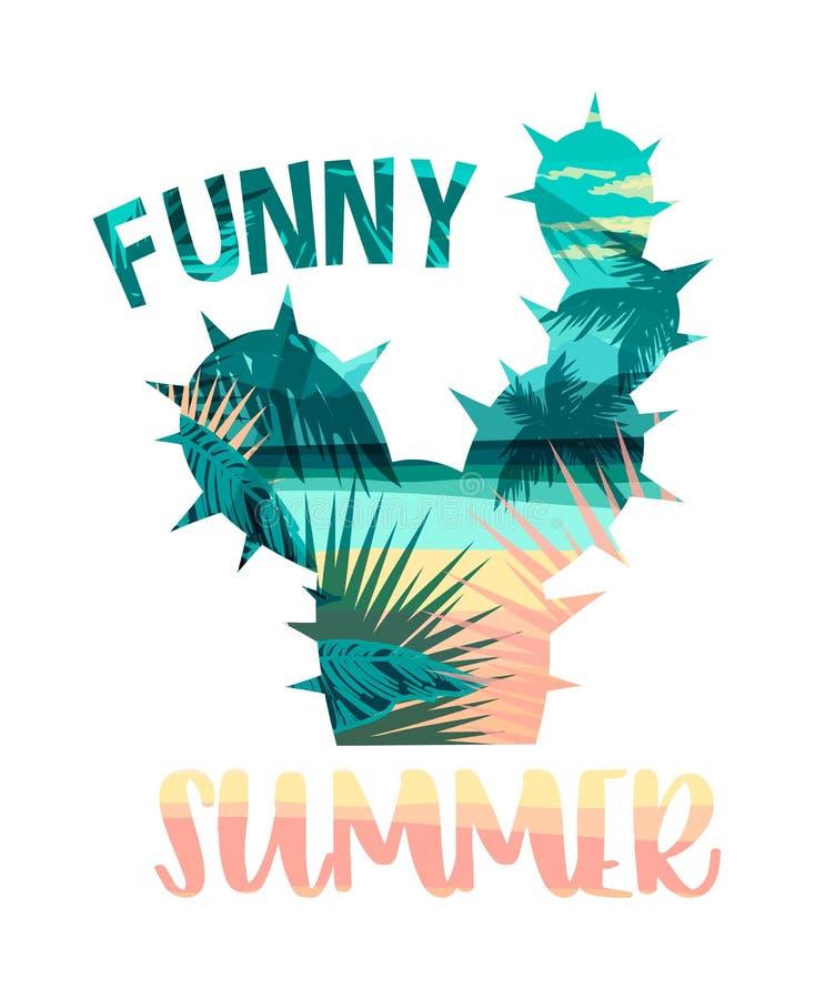 Cópia tropical do verão da praia com slogan para t-shirt, cartazes, cartão e outro usos ilustração royalty free