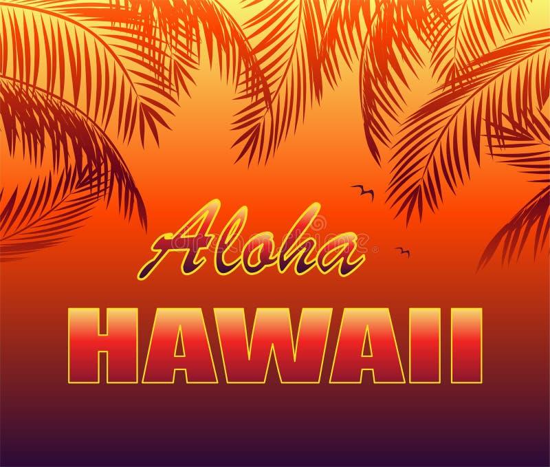 Cópia tropical quente do t-shirt com rotulação de Aloha Hawaii, gaivota e as silhuetas alaranjadas das folhas de palmeira no fund ilustração stock