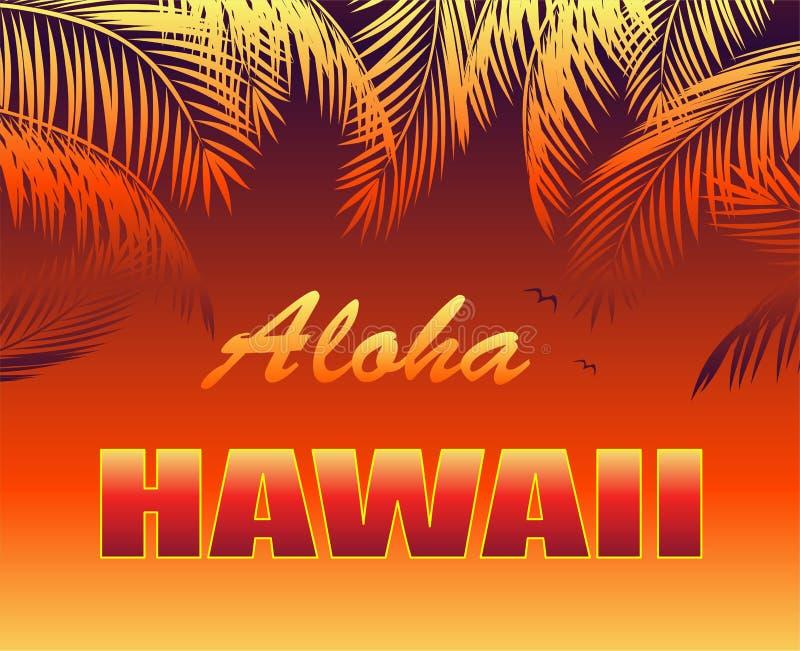 Cópia tropical quente do t-shirt com rotulação de Aloha Hawaii, gaivota e folhas de palmeira alaranjadas ilustração do vetor
