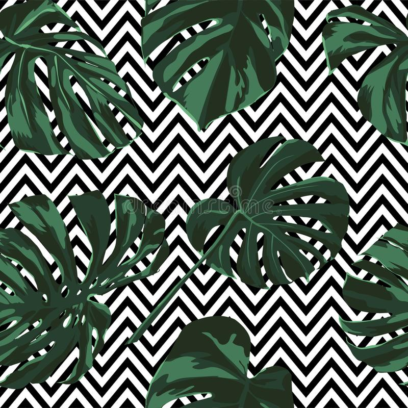 Cópia tropical Teste padrão sem emenda da selva Motivo tropico do verão do vetor com flores havaianas ilustração royalty free