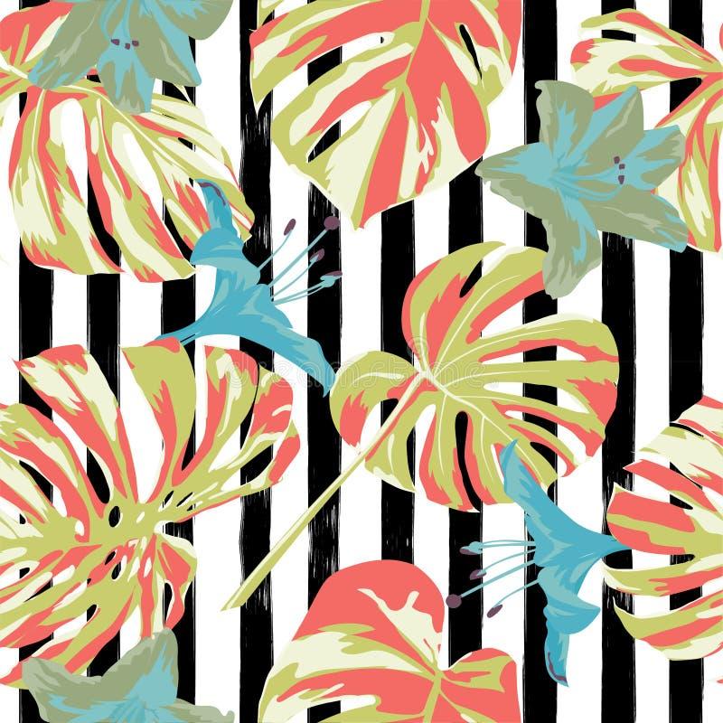 Cópia tropical Teste padrão sem emenda da selva Motivo tropico do verão do vetor com flores havaianas ilustração stock
