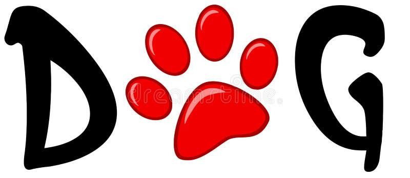 Cópia vermelha da pata no cão da palavra ilustração do vetor