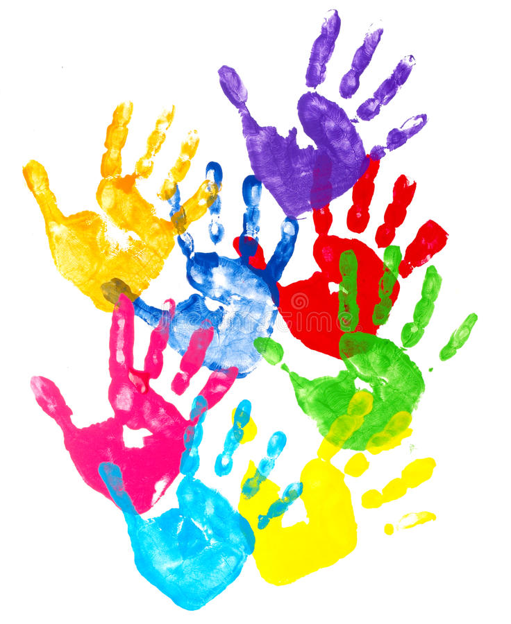 Cópias coloridas da mão foto de stock