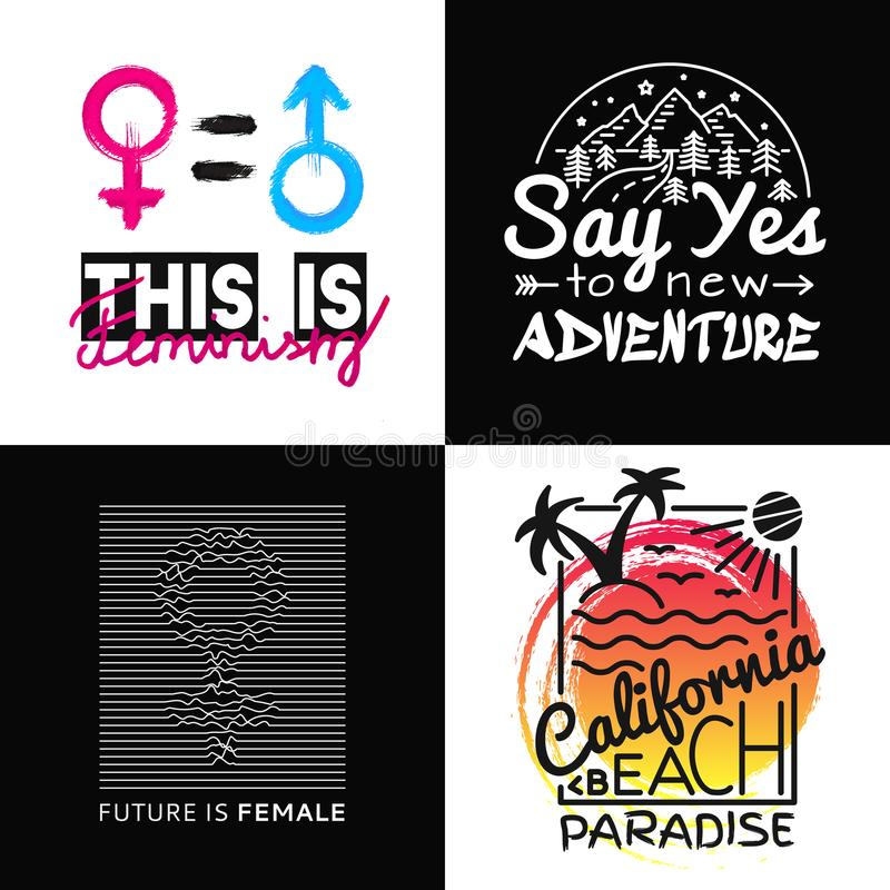 Cópias da coleção para o t-shirt Vector a ilustração no tema Califórnia, feminismo, aventura Slogan da forma ilustração stock