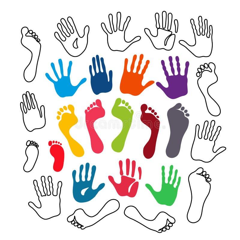 Cópias da mão e do pé da geração ilustração stock