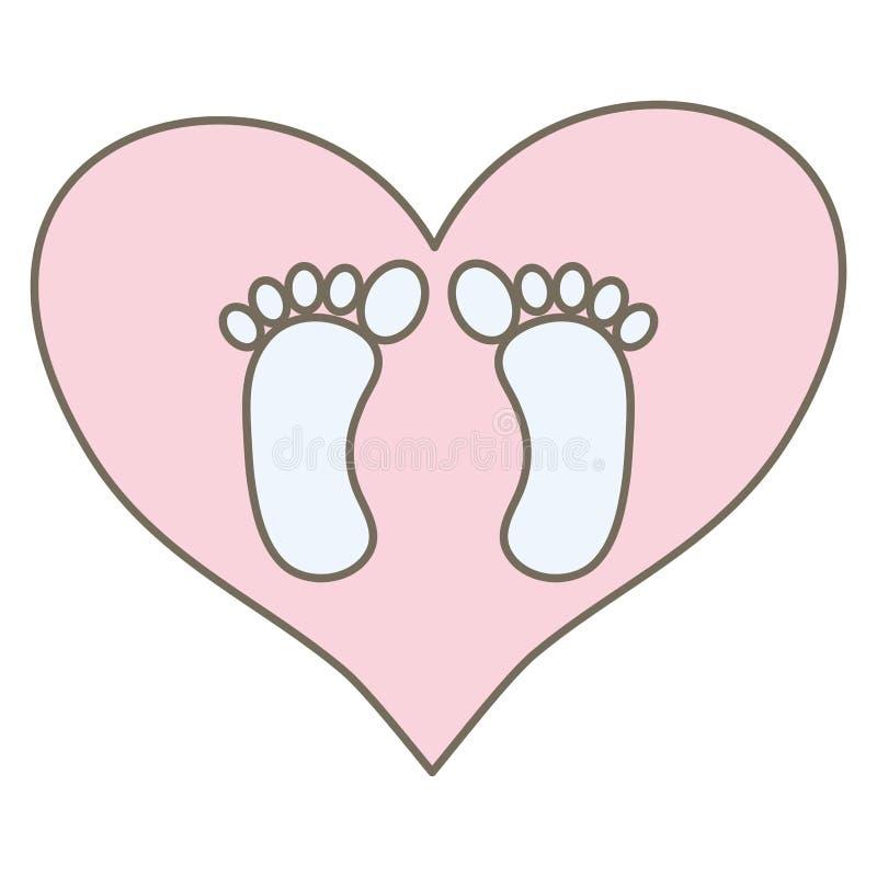 Cópias do pé do bebê no amor do coração ilustração do vetor