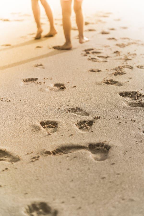 Cópias do pé dos povos na areia da praia fotografia de stock
