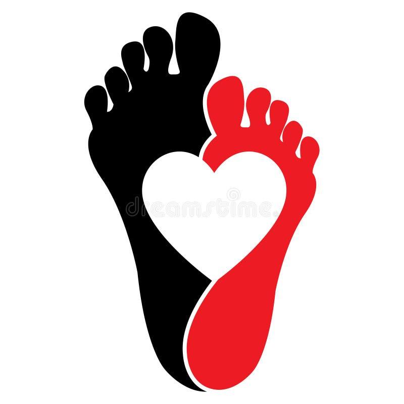 Cópias do pé na cor preta e vermelha com coração branco ilustração stock