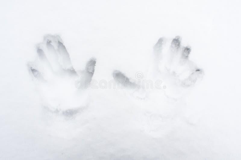 Cópias humanas da mão na neve fotografia de stock