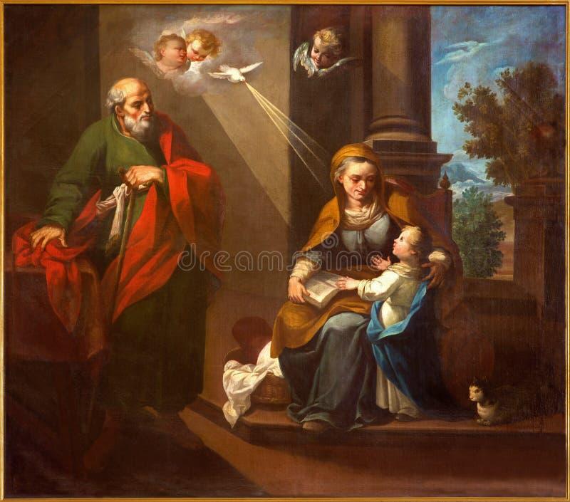 Córdoba - el st Joaquín, poca Virgen María y St Ann en la iglesia Convento de Capuchinos imagen de archivo