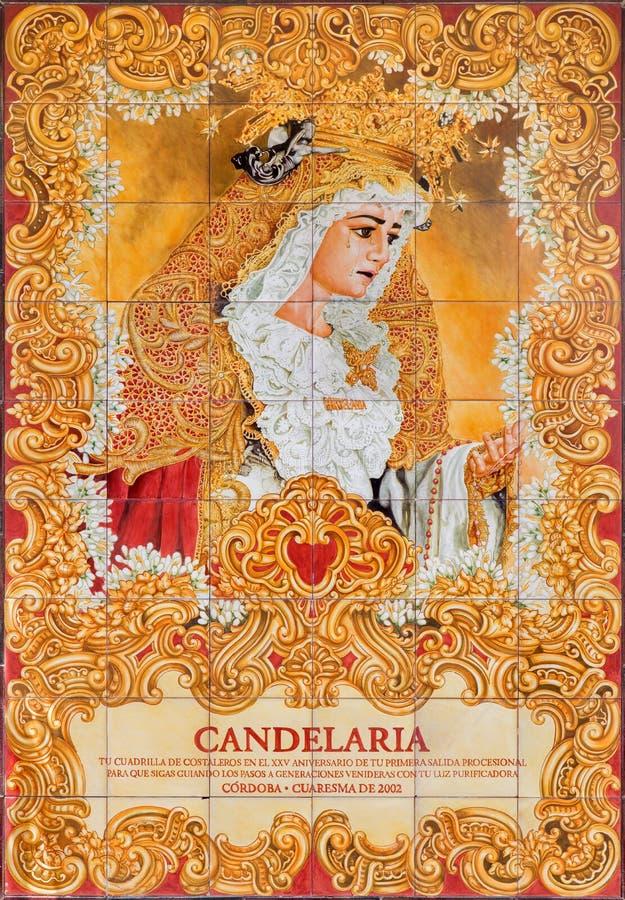 Córdova - Madonna cryed telhado cerâmico no quadrado de Compas de San Francisco foto de stock royalty free