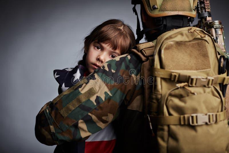 Córka Amerykański żołnierz obrazy royalty free