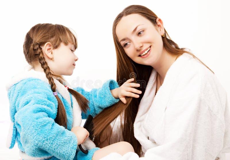 Córka i matka w domu zdjęcie stock