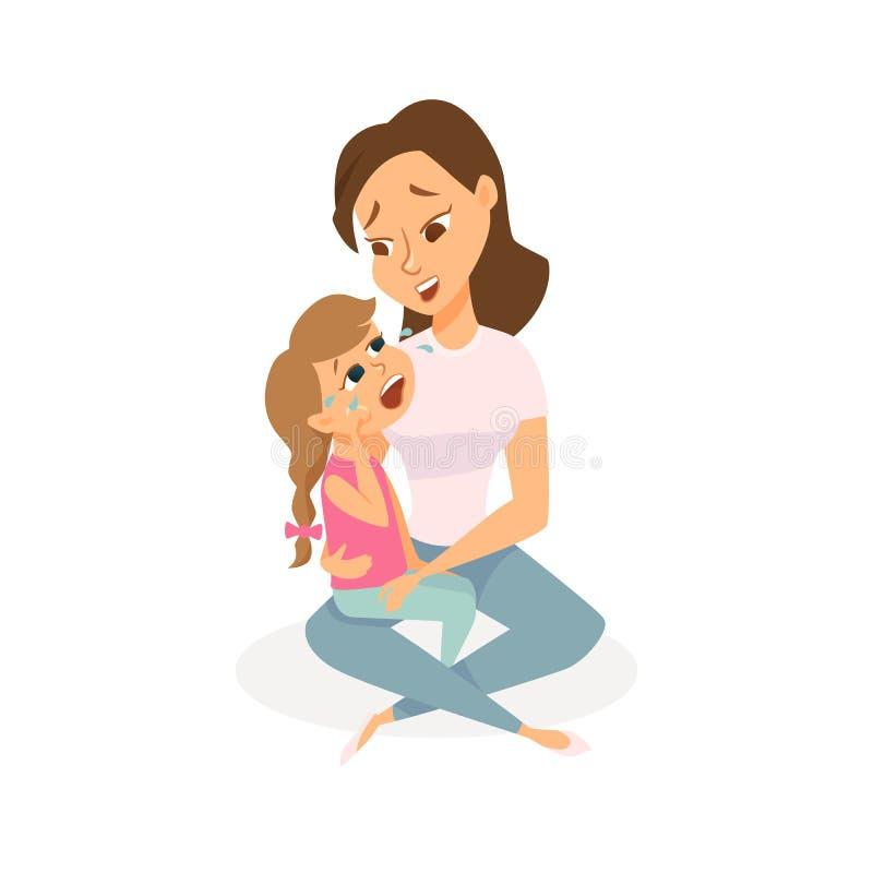 Córka płacze ilustracji