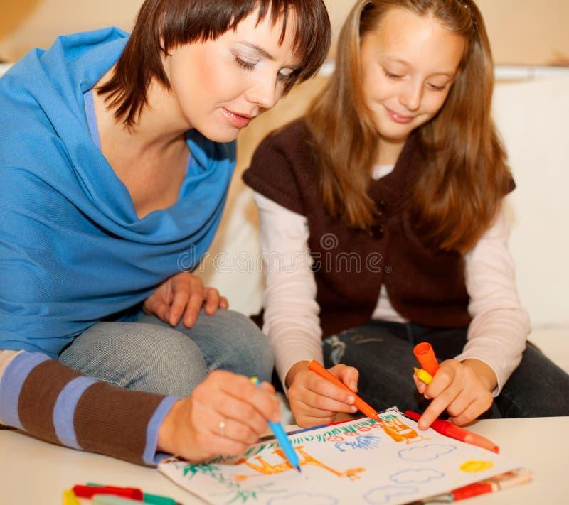 córka rysunek jej matka zdjęcia stock