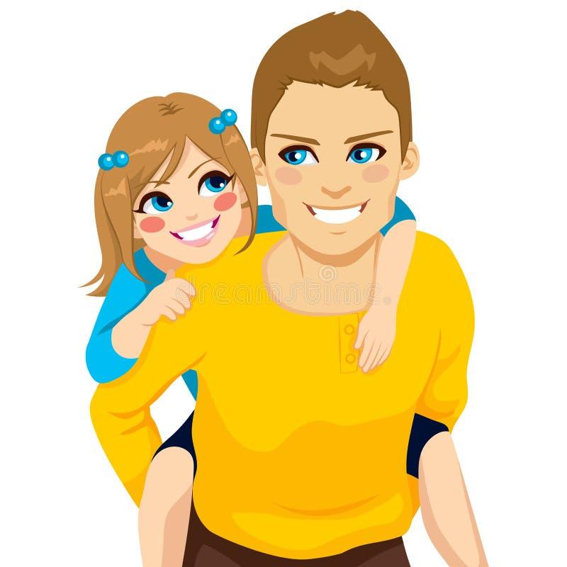 Córki I tata Piggyback przejażdżka ilustracja wektor