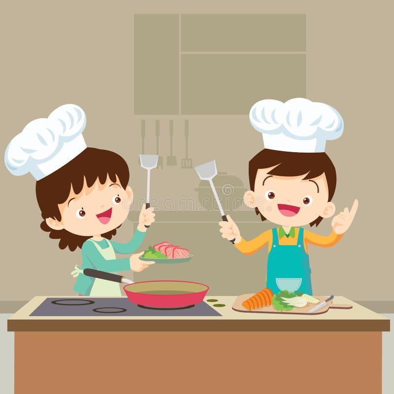 Córki kucharstwo z mama royalty ilustracja